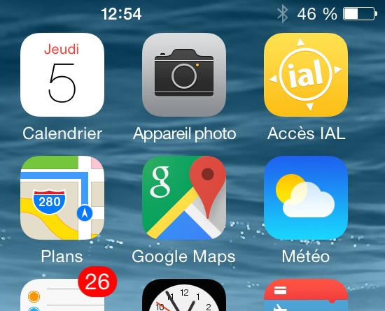 Accès IAL Home Screen iPhone