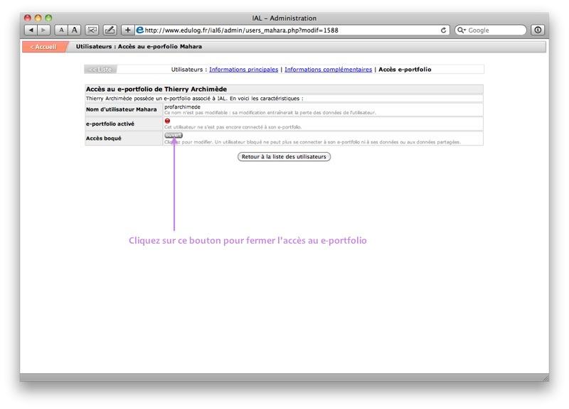 Accès e-portfolio