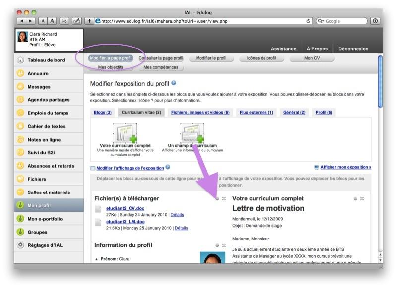 Configurer la page profil